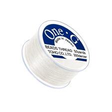 "Toho One-G 0.2mm (0.012"") 330dtex Nylon Beading Thread White 50yd (Q109/1)"