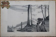 Airship/Dirigible/Blimp 1905 French Fantasy New Year Aviation Postcard, Alsace