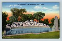 Chicago IL, Fountain Of Time, Lorado Taft, Statues, Linen Illinois Postcard A28