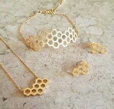 Gold jewelry set beehive hexagon stud earrings hexagon cute jewelry set gifts