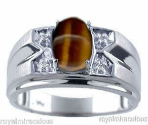 Mens Diamond Ring Tiger's Eye 14K White Gold Band