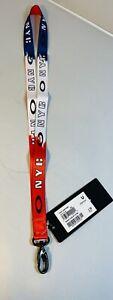 New Oakley NYC New York City Lanyard ID Badge Holder Key Chain Ring Rare Strap