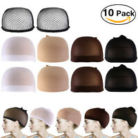 10pcs PIXNOR Nylon Wig Caps Neutral Nude Soft White Brown with Black Mesh