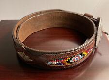 Vintage Eddie Bauer Southwestern Indian Beaded Brown Leather Belt Size 30