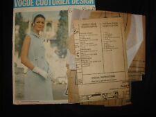 1960 Vtg Vogue Couturier Sewing Pattern Design Forquet 2041 1- piece Dress Sz 14