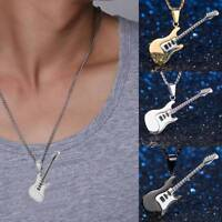 1 pc Stainless Steel Music Rock Guitar Pendant Necklace Chain Men Women Jewelry