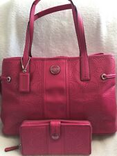 Coach Signature Stripe Watermelon Pink Perforated Carryall 21938 Wallet 48794