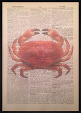 Crab Print Picture Vintage Dictionary Art Nautical Sea Maritime Beach Seaside