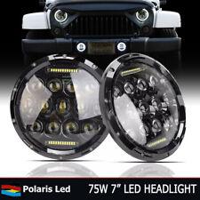 "Pair 7"" Inch Round Projector LED Black Headlights Hi/Lo Chevrolet C10 1977-1980"