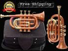 Pocket Trumpet 3V 100% Brass Chopra Make Orange Color with Mouth Piece +Case