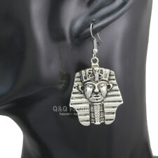 Egyptian Ancient Silver Pharaoh King Tut Mummy Mask Dangle Earrings Costume H6
