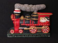 vintage cast iron christmas train doorstop door stop santa claus engineer