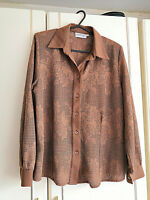 SUKHMANI OF LONDON WOMENS BROWN NETTED BLOUSE SHIRT SIZE 14 FLORAL LONG SLEEVE