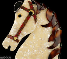 Horse Head Brooch Pin France Resin Lea Stein Paris Figural Pearly White Galopin