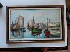 LA ROCHELLE Le port Tableau Huile sur toile Signé