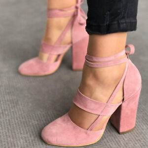 Womens Block High Heels Ankle Strap Sandals Lace Up Peep Toe Prom Shoes Good