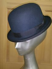 Exquisite Small ANTIQUE Navy Blue BOWLER DERBY HAT 6 5/8