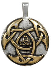 Lugh's Shield Pendant Necklace Celtic Silver and Gold Plated Ability Versatility