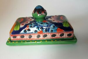 Mexican Ceramic Butter Dish With Lid Cover Butter Storage Serving Tray Container