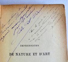 Julia DAUDET Impressions de Nature et d'art 1887 Envoi de l'auteur Premier roman