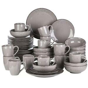 Vancasso Grey 48-Pieces Porcelain Dinnerware Set Dinner Plate Dessert Soup Mugs