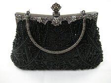Beaded Black Silver Clutch Lined Evening Handbag
