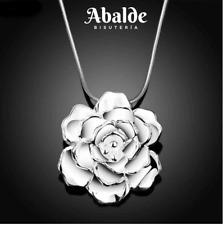 Collar Colgante Joya Diseño Flor Plata Accesorio Regalo Amor Mujer San Valentin
