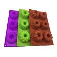 6 Cavity Silicone Mold Mini Bundt Savarin Cake Muffin Chocolate Baking Pan  ql*