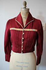 1970's Foxmoor Casuals Maroon Short Jacket with Ivory Crocheted Lace Trim