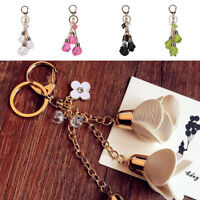 Hot Rose Flowers Leather Keyring Bag Key Charm Keychain Pendant Gift Ring Chain