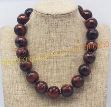 Huge 20mm Genuine Natural Red Tiger's Eye Gemstone Round Beads Necklaces 18-24''