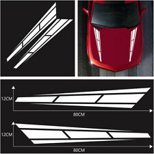 2PCS Car hood White decals sport stripes 12*80 cm graphics Vinyl Sticker Racing