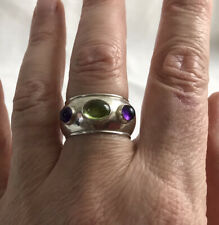 Chunky 925 Sterling Silver Peridot And Amethyst Ring London Hallmarked Size R1/2