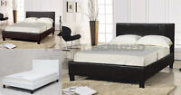 PRADO FAUX LEATHER BED FRAME - 3FT, 4FT, 4FT 6, 5FT, 6FT - BLACK, BROWN, WHITE
