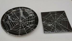 BLACK & WHITE COBWEBS 8 PARTY PLATES or 10 PAPER NAPKINS Halloween Spooky Celebr