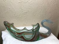 Vintage Retro Hand Blown Sooner Art Glass Swan Bowl Centerpiece Candy murano?