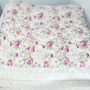 "Vintage Simply Shabby Chic Rachel Aswell Floral Quilt 86"" × 96"" Farmhouse"