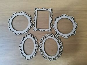 Wooden mdf  5 picture frame embellishments  various shapes