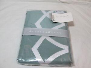 New Barbara Barry POETICAL TRACERY Euro European Pillow Sham  ~  Jade/White NIP