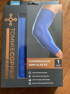 Tommie Copper Sport Compression Arm Sleeve Joint Pain Relief S/M Blue NIB