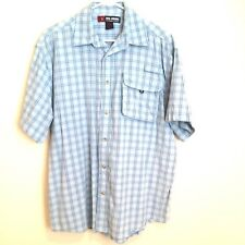Reel Legends Mens M Blue Plaid Cotton Short Sleeve Vented Fishing Shirt Medium