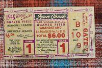 1948 World Series Game 1 Ticket Stub - Braves & Indians - Sain vs. Feller