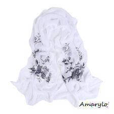 Foulard mousseline Fleurs et Feuilles - Noir fond blanc