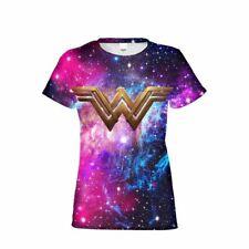 Wonder Woman Superhero Summer Short Sleeve T-shirt Galaxy Women's Casual Tops