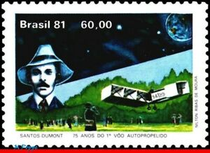 1767 BRAZIL 1981 SANTOS DUMONT, FIRST FLIGHT, PLANES & AVIATION, MI# 1853, MNH