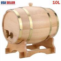 10L Wood Oak Timber Wine Barrel For Beer Whiskey Rum Port Wooden Keg w/ Stand US