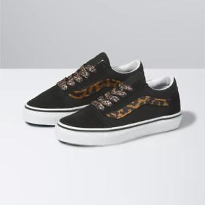Vans Old Skool Leopard Fur Black Kids Sneaker Shoes Size 3