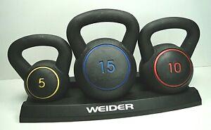 Weider Kettlebell 30LB SET 3 PACK 5LB 10LB 15LB SET VINYL COATED RUBBER WEIGHTS