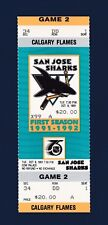 Sharks vs Calgary Flames 1991 unused hockey ticket - First Team Victory Ever!