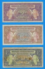 1946 British Armed Forces 3 Pence 6 Pence 1 Shilling Sixpence Voucher Note Set